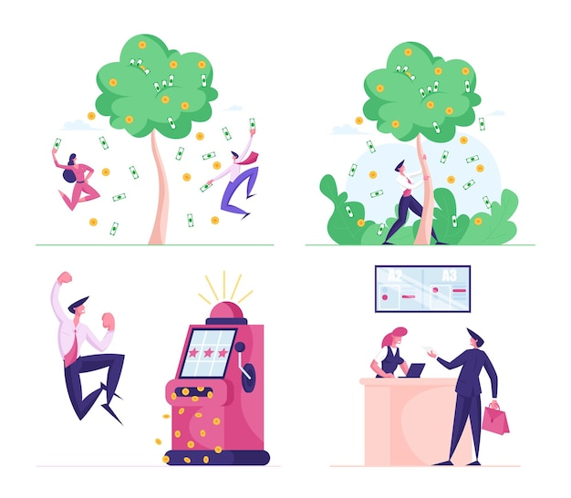 Set of business people in various scenes illustration