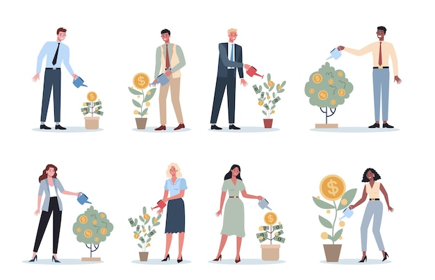 Set of business people watering a money tree. happy successfull character with a golden coin tree. financial well-being,growth and investment.