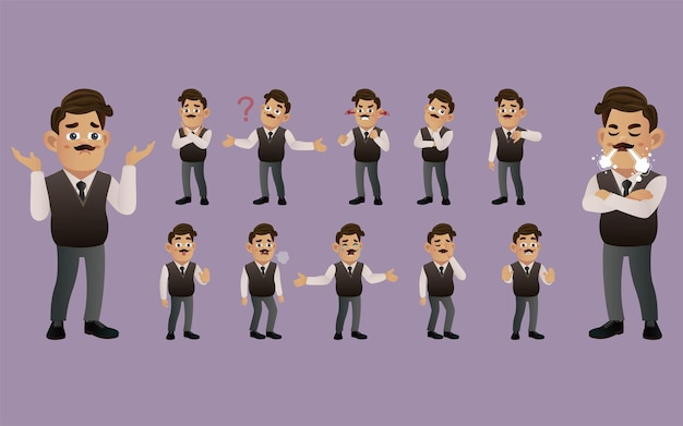 Set of business people with different emotion