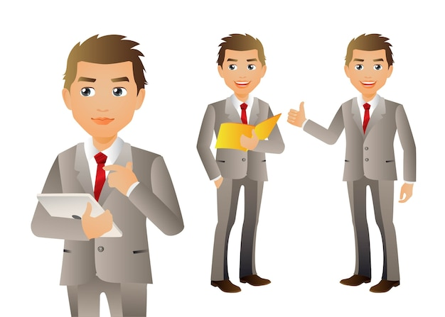 Set of business people with different poses