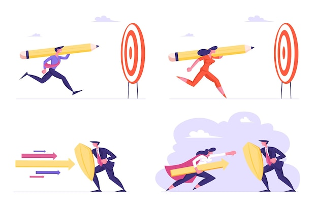 Set of business people with huge pencil running to target