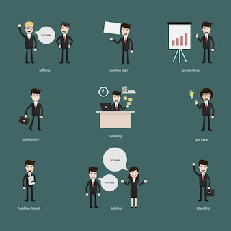 Set of business people with speech bubbles