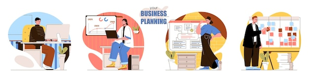 Set business planning flat design concept illustration of people characters