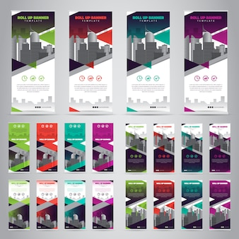 Set of business roll up banners