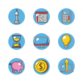 Set of business round icons