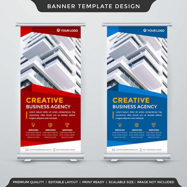 Set of business stand banner template design with abstract and