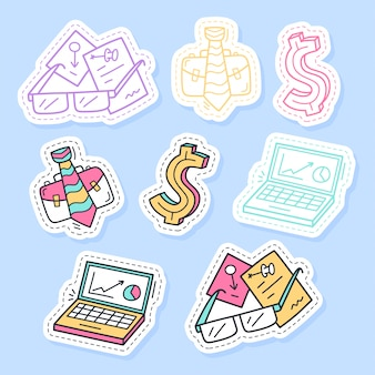 Set of business stickers handwritten collection in cartoon style.