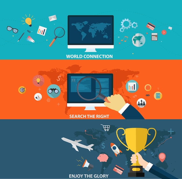 Set of business strategy and creative process on flat design