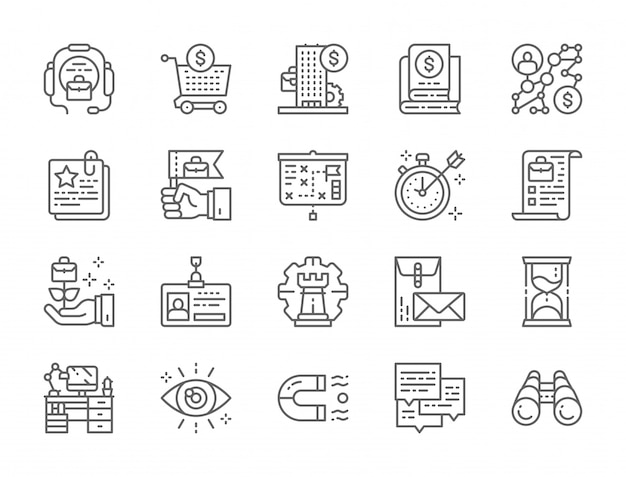 Set of business strategy line icons