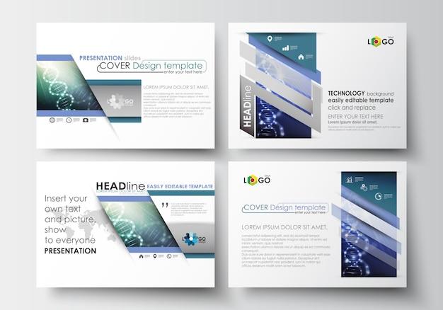 Set of business templates for presentation slides. dna molecule structure