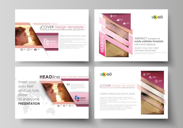 Set business templates for presentation slides. easy abstract layouts in flat . romantic couple kissing. beautiful . geometrical pattern in triangular style.
