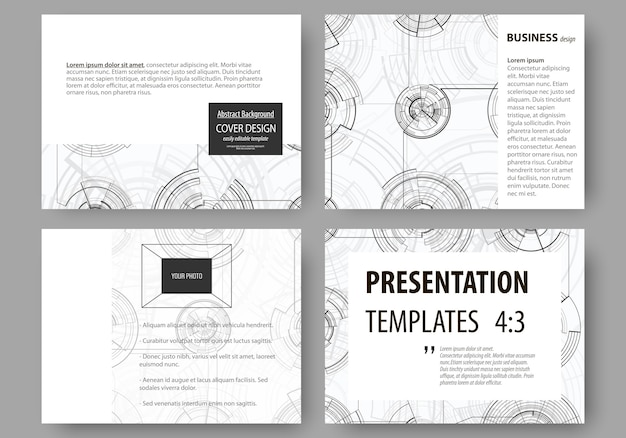Set of business templates for presentation slides.