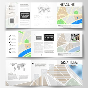 Set of business templates for square tri fold brochures.