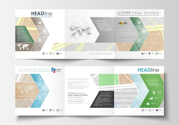 Set of business templates for square tri fold brochures