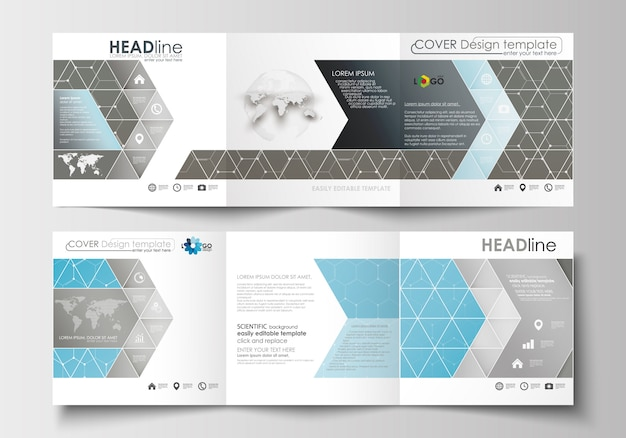 Set of business templates for tri-fold brochures