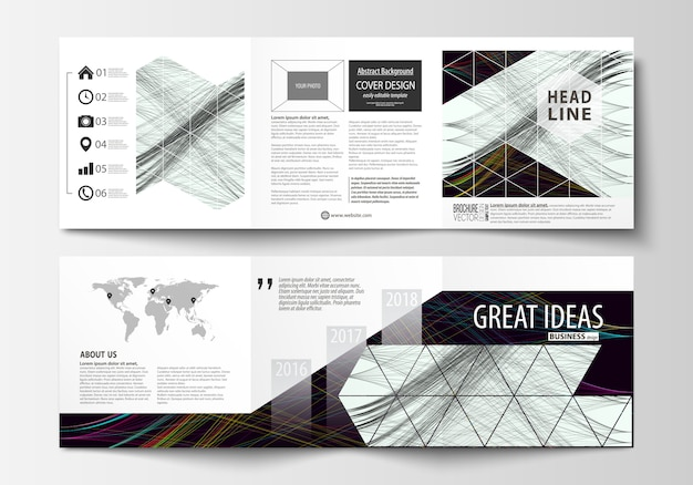 Set of business templates for tri fold square brochures.