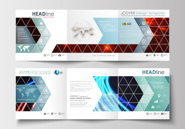 Set of business templates for tri-fold square brochures.