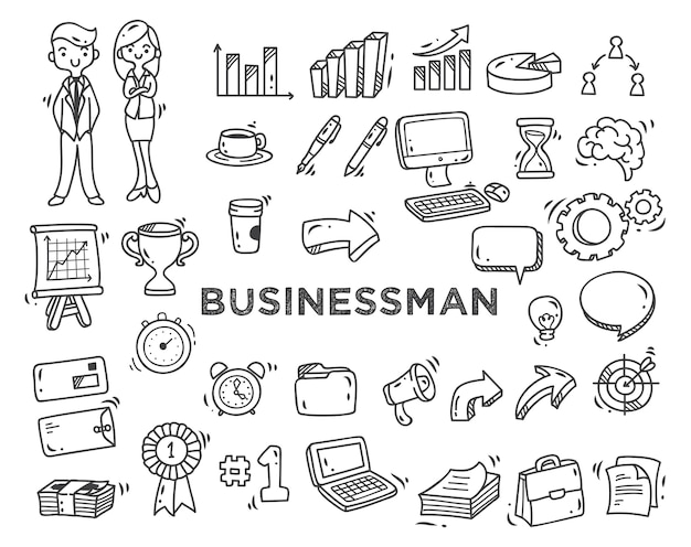 Set of business theme doodles isolated on white background