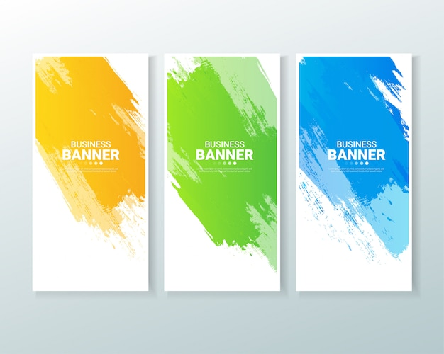 Set of business vertical banner background with watercolors splash.