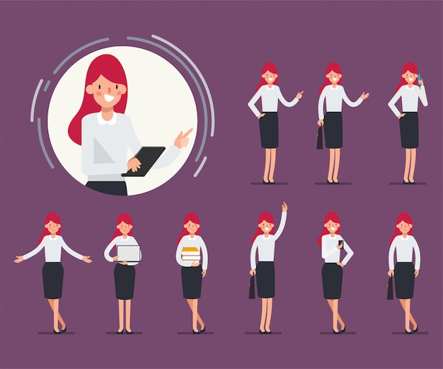 Set of business woman character for animation scene.