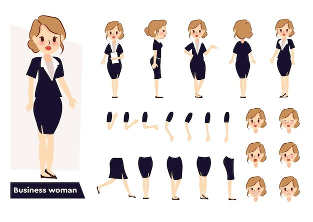 Set of business woman character frontside back view animated character with face expressions