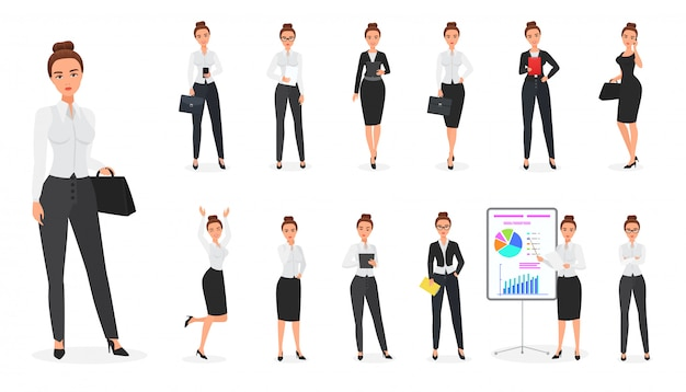 Set of business woman character. office female.