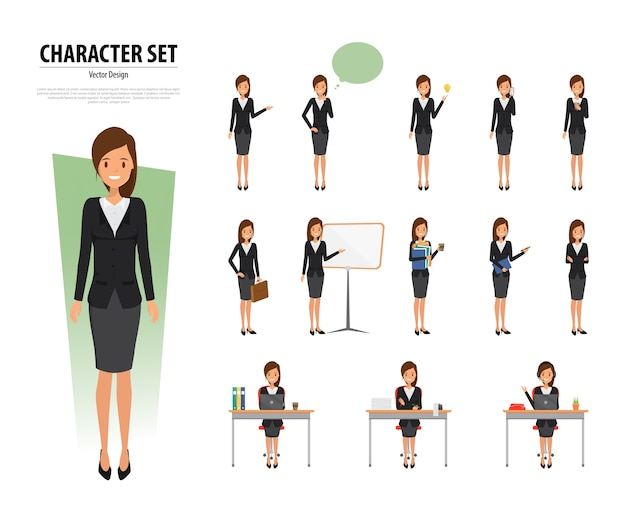 Set of business woman character in office style
