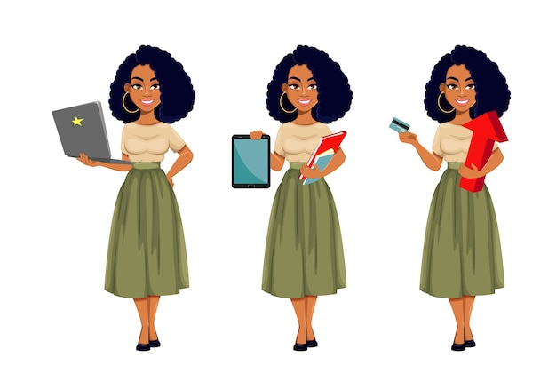 Set of  business woman in flat design