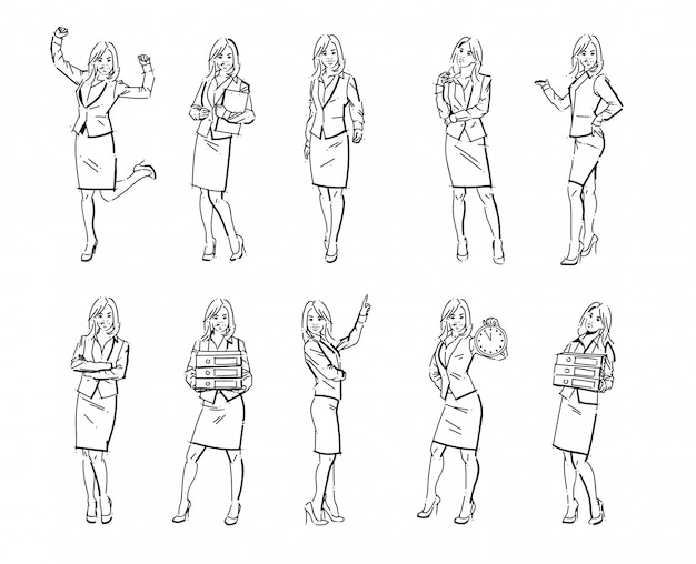 Set of business woman illustrations