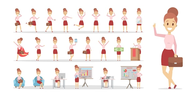 Set of business woman or office worker character in various poses, face emotions and gestures. isolated flat vector illustration