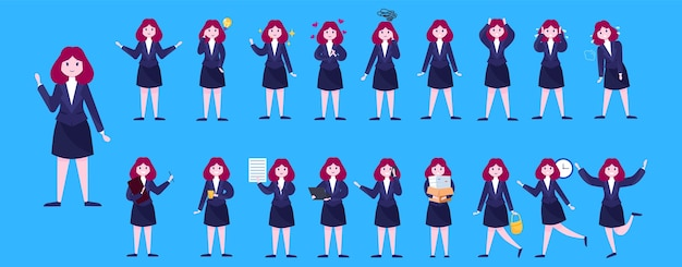 Set of business woman or office worker character with various poses, face emotions and gestures. talking on the phone, working and making presentation.   illustration