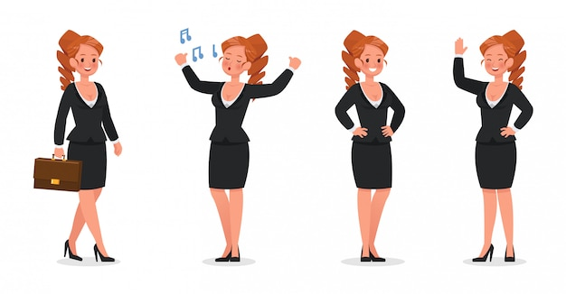 Set of business woman working in office character set