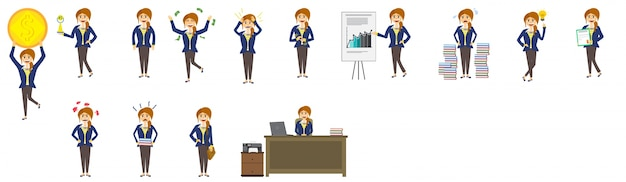 Set of business women character in differernt poses.