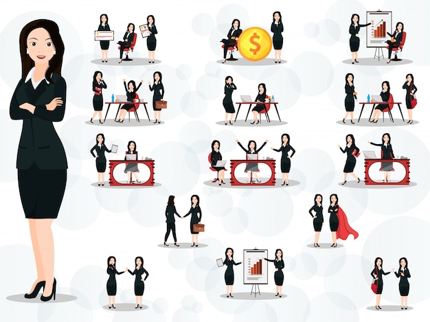 Set of business women in different working poses and gestures on