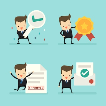 Set of businessman in approved concept