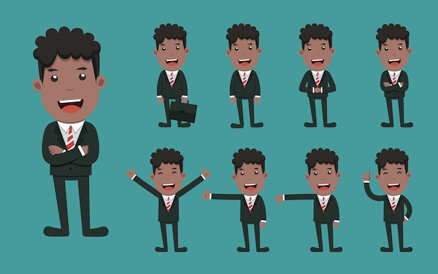 Set of businessman character different poses.