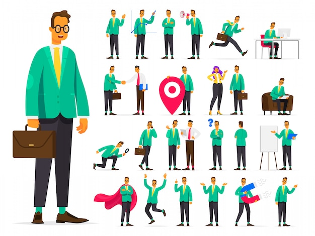 Set of businessman character in different situations. working situations and concepts