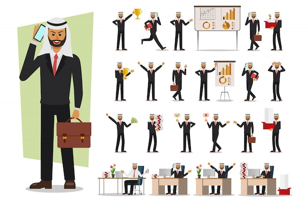 Set of businessman character, muslim, arab