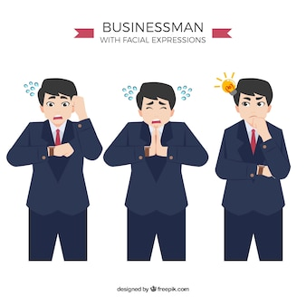 Set of businessman character in three situations