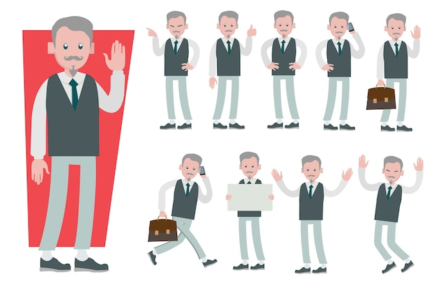 Set of businessman character vector design doing different gestures