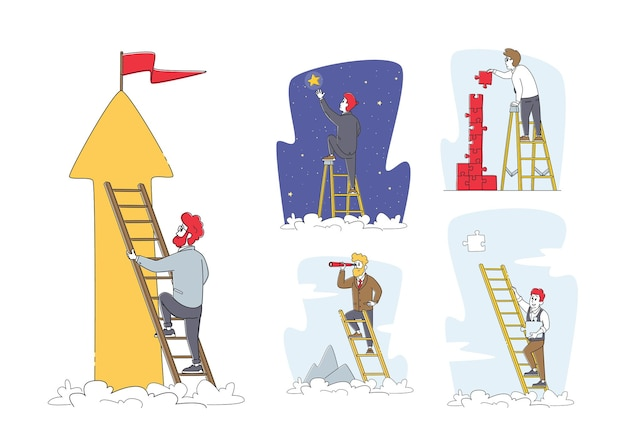 Set of businessman characters climbing ladder to take star from sky, assemble puzzle, look in spyglass
