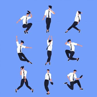 Set businessman dancer in different poses male cartoon character dancing collection blue background  full length