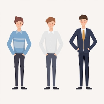 Set of businessman in different clothes. hand drawn character design.