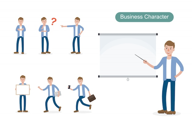 Set of businessman in different positions.