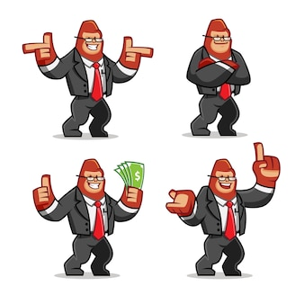Set of businessman gorilla mascot