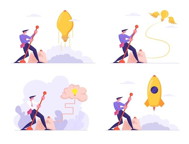 セットビジネスマンは巨大な電球を起動します