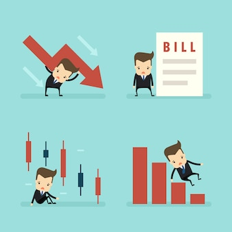 Set of businessman loss in business concept