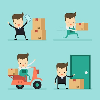 Set of businessman and massenger in delivery concept