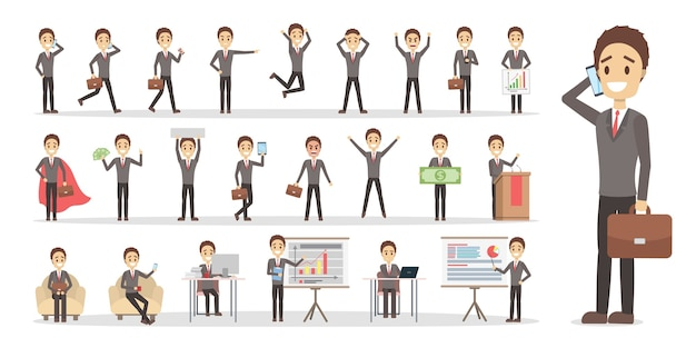 Set of businessman or office worker character in suit with various poses, face emotions and gestures.    illustration