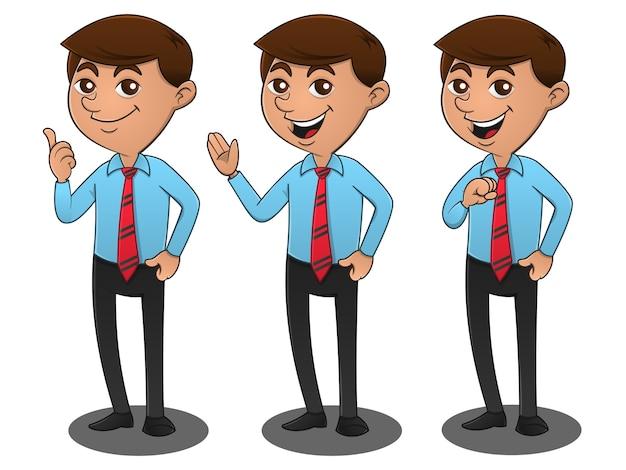 Set of businessman poses